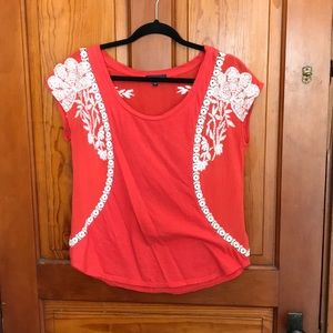 Anthropologie embroidered red t-shirt